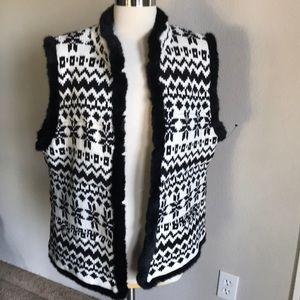 Talbots sweater vest teddybear fur NWT XL b&w $149